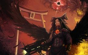 Обои оружие, перья, крылья, арт, raven, Hell, ворон, девушка