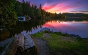 Картинка ночь, природа, озеро