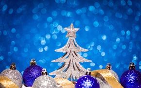 Картинка праздник, игрушки, звезда, елка, Новый год, New Year
