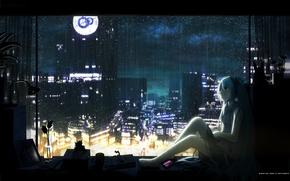 Картинка цветок, ночь, дождь, наушники, подоконник, vocaloid, hatsune miku, вокалоид, голубые волосы