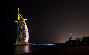 Картинка свет, ночь, Dubai, дубай, оаэ, Джумейра-Бич-отель, Бурдж Аль Араб