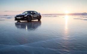 Картинка лед, море, nissan GT-R