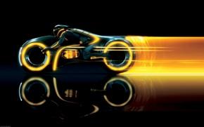 Обои след, виртуальность, мотоцикл, Трон, TRON: Legacy