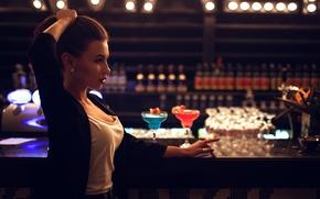 Картинка Ivan Gorokhov, девушка, стойка, BAR, в баре, напитки
