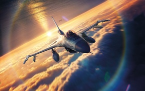 Картинка sunset, drawing, sky, Lockheed F-16