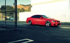 Картинка бмв, BMW, red, e92, 3 серия, frontside
