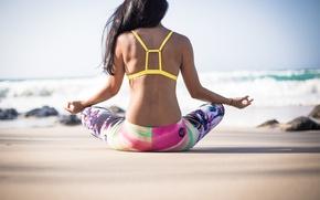 Картинка море, пляж, девушка, медитация