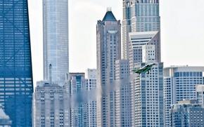 Картинка авиация, город, самолёт