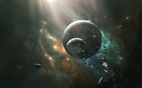 Обои луна, столкновение, планета, звезды, астероиды