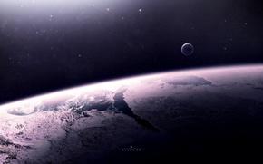 Картинка планеты, звёзды, рельеф