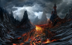 Картинка тучи, скалы, вулкан, арт, лава, мрачно
