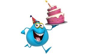 Картинка монстр, торт, monster, smile, cartoon, персонаж, funny, cute