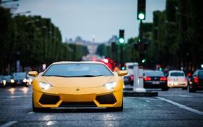 Картинка Lamborghini, Paris, yellow, aventador