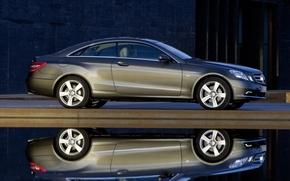 Обои coupe, e350, отражение, mercedes-benz