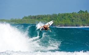 Обои волна, доска, девушка, Surfing, спорт, серфинг