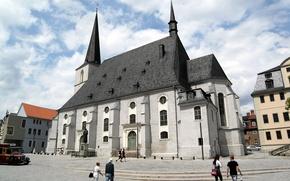 Картинка небо, дома, Германия, Веймар, церковь святых Петра и Павла