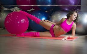 Обои упражнение, фитнес, шар, девушка, ножки, спортивная, фигура, стиль