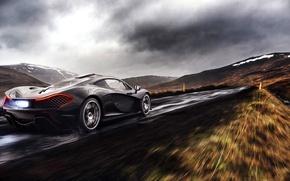 Картинка McLaren, Clouds, Fire, Black, Rain, Road, Supercar, Exhaust, Rear