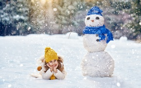 Картинка Зима, Дети, Девочка, Снежинки, Снеговик, Шапки