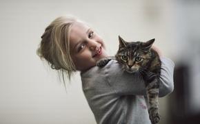 Обои кошка, фон, девочка