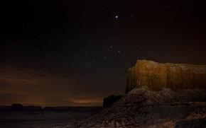 Картинка звезды, ночь, скала, пустыня, каньон