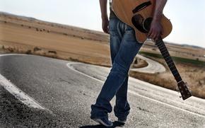 Картинка дорога, музыка, человек, гитара