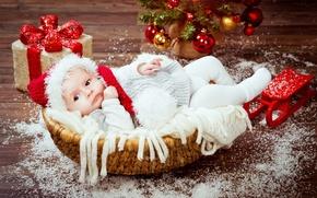 Картинка корзина, шапка, игрушки, ребенок, малыш, Рождество, подарки, Christmas, New Year, child, baby, infant