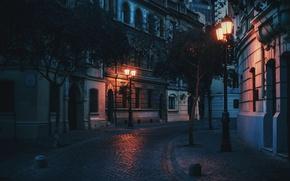 Обои lamp posts, light, urban scene, cityscape, street
