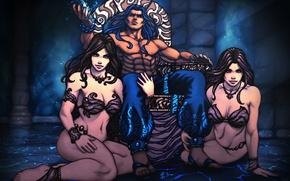 Картинка попа, грудь, девушки, тело, аниме, арт, мужчина, трон, гарем