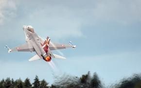 Картинка небо, истребитель, взлет, Fighting Falcon, F-16C, «Файтинг Фалкон»