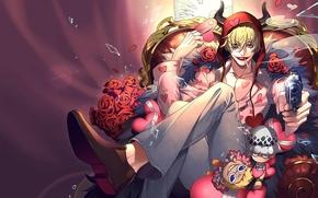 Картинка улыбка, фон, аниме, арт, парень, One Piece