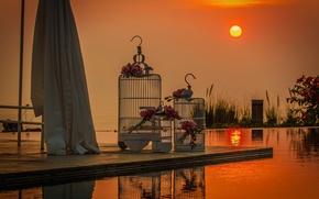 Картинка солнце, закат, свадьба, букеты