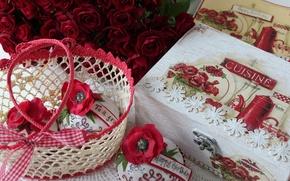 Обои цветы, сладость, пирожное, розы, цветок, шкатулка