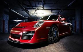 Картинка красный, 911, Porsche, парковка, red, порше, front, Turbo