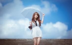 Картинка девушка, стиль, зонт, азиатка