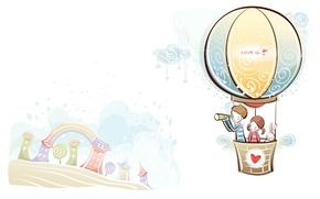 Картинка любовь, воздушный шар, рисунок, радуга, мальчик, пара, девочка, love, двое, art, Настроения