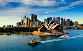 Картинка море, небо, облака, корабль, вечер, театр, опера, Australia, Sydney