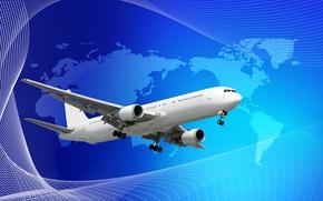 Обои пассажирский, вектор, фон, самолет, материки, белый, полосы, синий, карта
