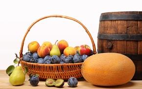 Картинка корзина, яблоки, фрукты, персики, сливы, груши, дыня, бочонок