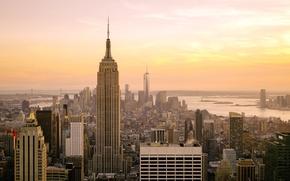 Картинка USA, skyline, Sunset, Manhattan, NYC, New York City, Empire State Building, buildings, Midtown, skyscrapers, America, …
