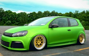 Картинка green, volkswagen, golf, tuning, germany, low, stance, sparco