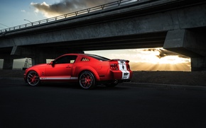 Картинка Shelby, GT500, Car, Muscle, Red, Aristo, Sunset, Rear, Collection, Light, Mustang, Ford