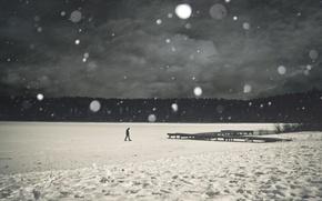 Картинка лед, снег, деревья, река, одиночество, серый, человек, пирс, Настроение