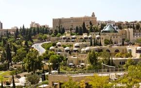 Обои Израиль, архитектура, деревья, Jerusalem, Иерусалим, дома
