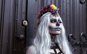 Картинка лицо, стиль, раскрас, dia de los muertos, день мёртвых