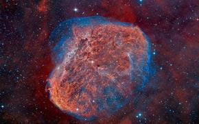 Обои звезды, взрыв, туманность, NGC 6888, The Crescent Nebula