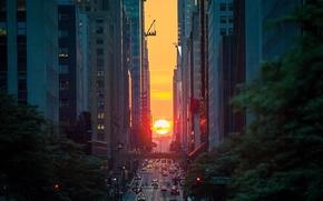 Обои США, закат, солнце, Нью Йорк, вечер, улица, город, дома
