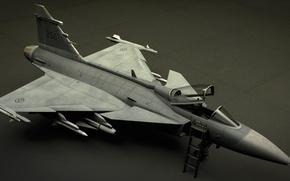 Картинка самолет, рендеринг, модель, истребитель