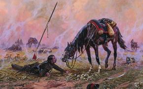 Картинка поле, трава, цветы, конь, война, масло, холст, пика, сабля, раненый, кавалерист, кивер, брани, художник А.Аверьянов