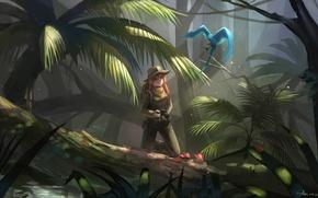 Картинка девушка, пальмы, птица, джунгли, арт, фотоаппарат, vocaloid, megurine luka, shon